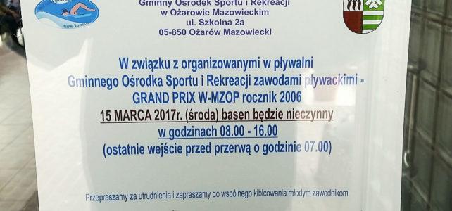 Zapraszamy na zawody pływackie GRAND PRIX W-MOZP rocznik 2006 – I runda w Ożarowie Maz.