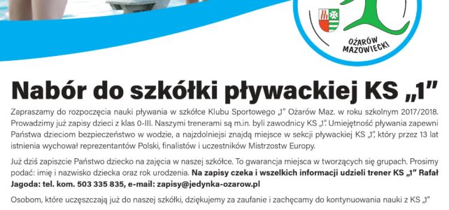 """Trwają zapisy do szkółki pływackiej KS """"1"""""""